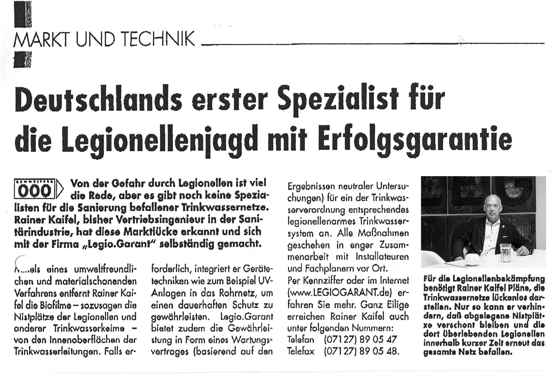 Zeitungsbericht Rainer Kaifel Jan 1999